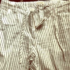 Linen wide leg cream and black pants